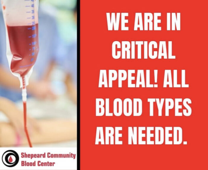 SHEPEARD BLOOD CENTER IN URGENT NEED OF DONATIONS